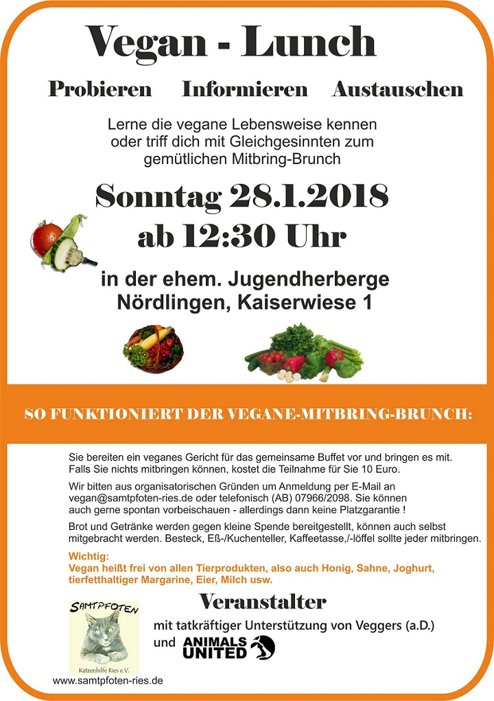 Vegan-Lunch am 28.01.2018 in Nördlingen